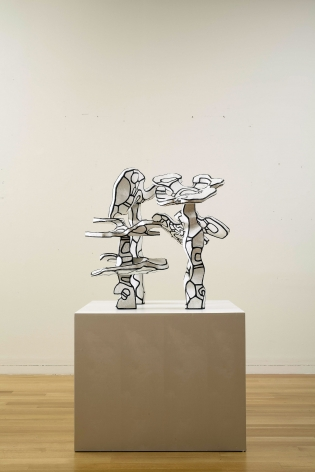 Jean Dubuffet, Groupe de Quatre Arbres (État Définitif), 1970  96 x 100 x 87 cm. (37 7/8 x 39 x 34)  Epoxy paint on polyurethane, in 4 parts  ©Helly Nahmad Gallery NY. The present work, Group of four trees from 1970 belongs to Dubuffet's acclaimed Hourloupe cycle series from 1962 to 1974. The works created during this period resemble familiar objects and forms and yet these works recall a fantastical parallel universe where the line between the real and the imaginary is blurred. The figures and objects of the Hourloupe cycle all emulate an existing reality or an everyday object. Dubuffet referred to them as a reflection of the tangible as it appears in the mind. It is in this context that one should experience Group of four trees.