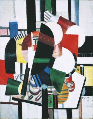 """Fernand Léger, Les femmes à la toilette, 1920 Oil on canvas 92.3 x 73.3 cm. (36 3/8 x 28 7/8 in.) Léger painted 'Les Femmes à la toilette' as the penultimate work in a rare and important sequence of eight canvases done in 1920, half of which are now in museum collections, on the theme of a woman seated at her boudoir table and looking into her mirror, as she attends to her daily toilette (Bauquier, nos. 217-224). This cycle exists in two sets. The artist titled the first series 'La Femme au mirroir', (B., nos. 217-221). As his conception of the theme grew more elaborate he described his female subjects as """"à la toilette"""" (B., nos. 222-224). In each of these three latter paintings two women share the dressing table, although in the final canvas, the largest of the set, the artist unaccountably reverts in his title to 'femme' (singular), even while the picture appears to reiterate most of the elements seen in the present canvas and the smaller version preceding it."""