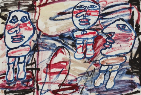 Jean Dubuffet, Le rendez-vous (14 Juillet 1982), 1982. This painting shows an abstract background made of quick brushstrokes of blue, red, beige purple and red lines. three characters occupy fully the space of the canvas. Their depiction is extremely simplified, they all have a large head mostly in shape of a circle, eyes nose and mouth but no hair or ears. They all have a bust painted with a quick oval shape but they have no arms, they all have two legs. The characters are actually a cut out in paper that had been glued on the abstract background. All three figures are depicted similarly with a thick navy line, and they all have red blush on their cheek, though the gender is not defined.