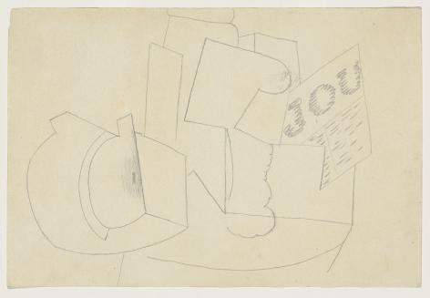 Pablo Picasso, Composition au Journal, 1914-15 Pencil on paper 19.7 x 29.4 cm. (7.4 x 11.4 in.)