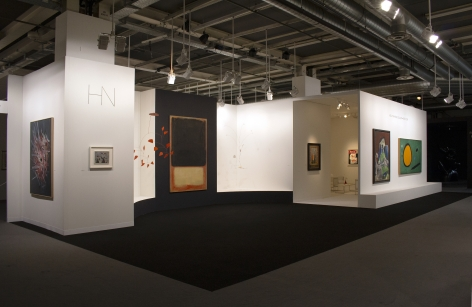 Installation view of Art Basel, Basel 2019. ©Helly Nahmad Gallery NY. Photography by Studio MDA. This photo features the inside of the booth the focus is a large scale painting by Mark Rothko.