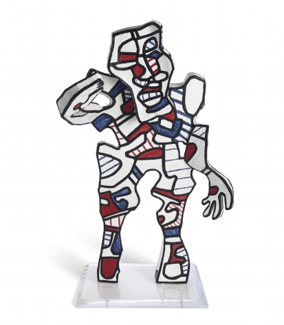 Jean Dubuffet, L'Accueillant, 1973. The present work was a maquette for a work that was originally part of a monumental group of five characters titled Welcome Parade, destined to populate the entrance of the new wing of the National Gallery of Art in Washington, D.C. The building's architect, I.M. Pei, had requested Dubuffet be invited to conceive of and install this artwork, but it was never realized for reasons that are still unclear.