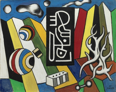 Fernand Léger, Objets dans l'espace, 1931 Oil on canvas 73 x 92 cm. (28 3/4 x 36 1/4 in.) ©Helly Nahmad Gallery NY