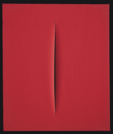 Lucio Fontana, Concetto spaziale, Attesa (64 T 101), 1964. This painting is cover only by a smooth red surface and there is a vertical cut in the center of the canvas that almost occupies all the height of it. 'With the slash I invented a formula that I don't think I can perfect. I managed with this formula to give the spectator an impression of spatial calm, of cosmic rigour, of the serenity of infinity' (L. Fontana, quoted in E. Crispolti, Lucio Fontana: Catalogo ragionata di sculture, dipinti, ambientazioni, vol. 1, Milan 2006, p. 105)