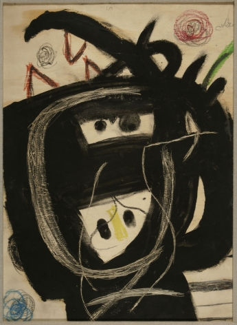 Joan Miró, Tête (23 V 81), 1981 Tempera, colored crayons, pencil and grattage on plywood 53.5 x 39 cm. (21 1/10 x 15 2/5 in.) ©Helly Nahmad Gallery NY
