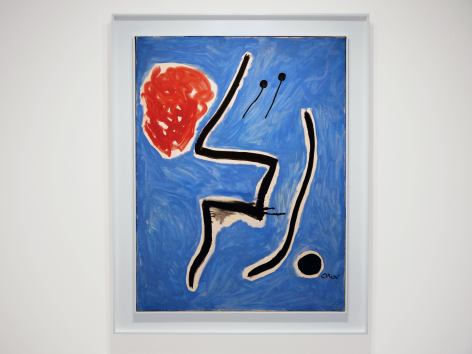 Installation view of Selected Works by 20th Century Masters featuring Joan Miró, Oiseaux devant le soleil, 1978 Oil on canvas 116 x 89 cm. (45 5/8 x 35 in.) 