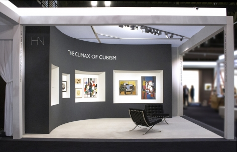 Installation view of The Climax of Cubism, booth 301 at TEFAF Spring 2019. Photography by Studio MDA. View from the side.