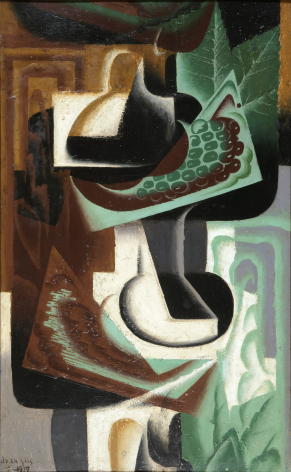 Juan Gris, La Grappe de Raisin, 1917 Oil on panel 61 x 38 cm. (24 x 15 in.) This painting represents in a cubist manner grapesin green, white, black