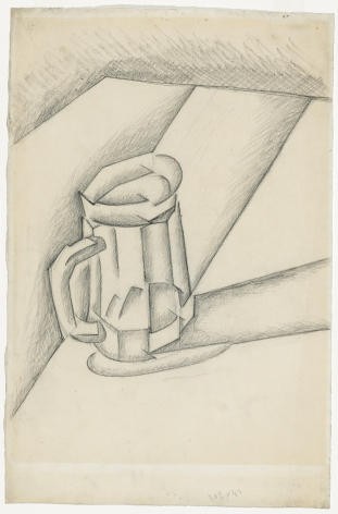 Juan Gris, Bock de Bière, 1911 Charcoal on paper 47.8 x 31.5 cm. (18 7/8 x 12 3/8 in.) This painting is a drawing in a cubist manner of a beer pint on a table.