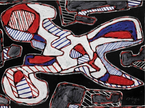 Jean Dubuffet, Ciseaux I, 1966. A tangled web of red, white, and blue patterns are cut and spliced from multiple aerial perspectives into a single unified construction, revealing a unique vision of a pair of scissors in Jean Dubuffet's remarkable Ciseaux I. Executed in 1966, it is a highly accomplished large-scale example of the artist's celebrated Ustensiles Utopiques paintings, in which he applied his signature l'Hourloupe style to a series of ubiquitous, everyday objects.