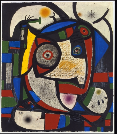 Joan Miró, Composition, 1976 Brush and ink, gouache, pastel, charcoal and wax crayon over aquatint on paper 105.1 x 89.5 cm. (41 3/8 x 35 1/4 in.) ©Helly Nahmad Gallery NY