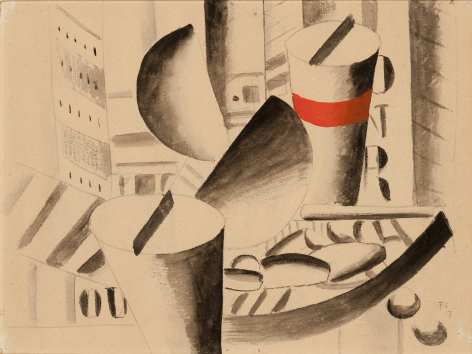 Fernand Léger, Étude pour Le Remorqueur, 1917 Gouache and ink over pencil on paper mounted on board 23.2 x 30.7 cm. (9 1/4 x 12 1/4 in.) ©Helly Nahmad Gallery NY