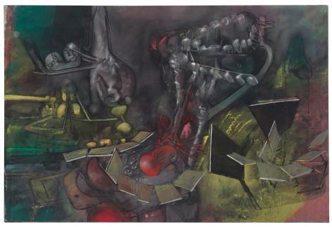 Roberto Matta, Dar a Luz un Mundo, 1960 Oil on canvas 200 x 300 cm. (82.5 x 121 in.) ©Helly Nahmad Gallery NY