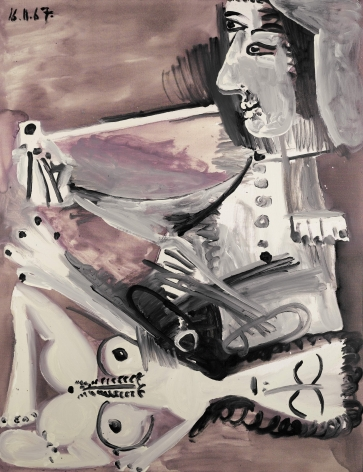 Pablo Picasso, Homme à la pipe et nu couché, 1967 This painting shows a couple fully occupy who the canvas. The man is seated smoking a pipe and the nude woman is laying down. The characters are painted in grey and white with black lines and the background is in mauve tons.