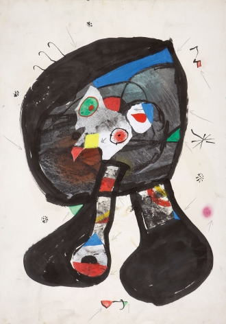 Joan Miró, Fantôme de l'Atelier, 1981 Gouache, watercolor, brush and ink, collage and pencil on paper 89.8 x 63 cm. (35 3/8 x 24 3/4 in.)  ©Helly Nahmad Gallery NY