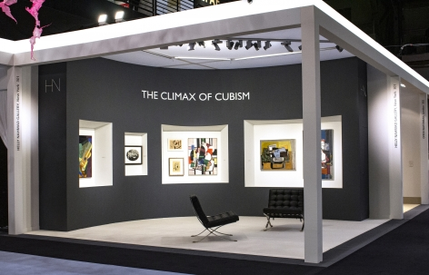 Installation view of The Climax of Cubism, booth 301 at TEFAF Spring 2019. Photography by Studio MDA. View from the front.