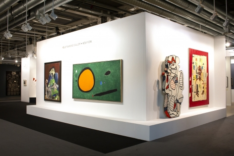 Installation view of Art Basel   Basel 2019, booth H5. ©Helly Nahmad Gallery NY. Photography by Studio MDA. This photo features the left side of the booth. The focus is a large scale pai nting by Joan Miro and a sculpture by jean Dubuffet.