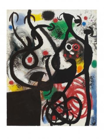 Joan Miró, Femmes et Oiseaux dans la nuit, 1968 Oil on canvas 145 x 113 cm. (57 x 44 1/2 in.) ©Helly Nahmad Gallery NY