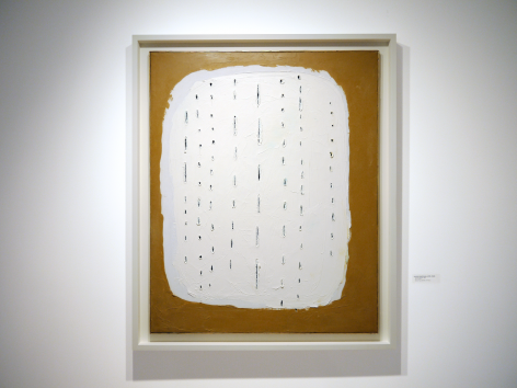 Installation view of Selected Works by 20th Century Masters featuring Lucio Fontana, Concetto Spaziale, 1960, Oil on canvas, 100 x 81 cm. (39 ⅜ x 31 ⅞ in.)  Photography by Bianca Boragi. ©Helly Nahmad Gallery NY.