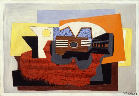 Pablo Picasso, Guitare sur un Tapis Rouge, 1922 Oil on canvas 87 x 116.5 cm. (31 3/4 x 45 3/4 in.)