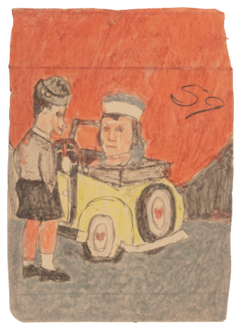 James Castle Untitled (Yellow car and two figures), n.d.