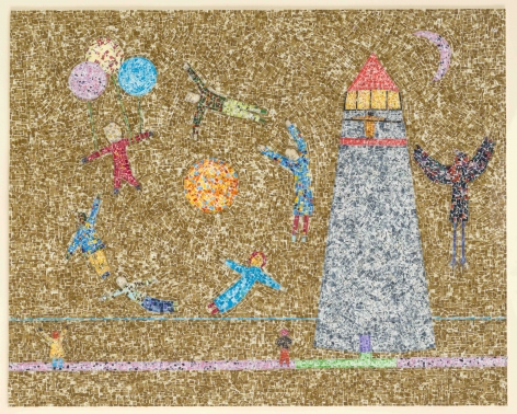 To the Lighthouse, 2000, Postage stamp fragments on board