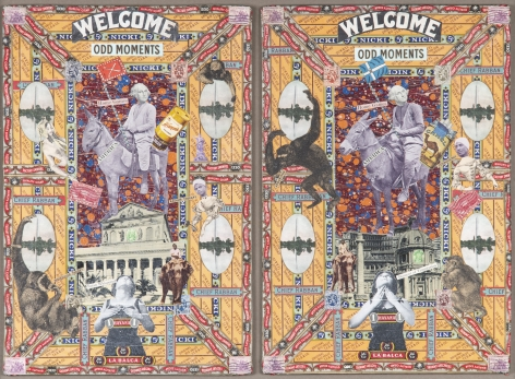 Home Games (diptych), c. 1920-50, Mixed media collage on book jacket