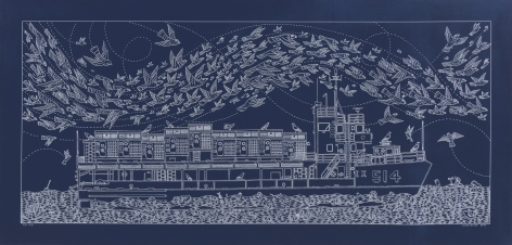 A Semi-Accurate Depiction of The Baylander 514-IX and Her Aircraft While Stationed at Wallabout Bay, 2017, Cyanotype