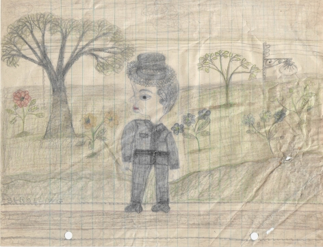Untitled (Strolling), c. 1940's, Graphite and colored pencil on notebook paper