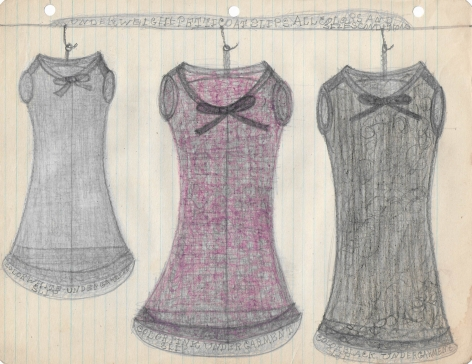 Untitled (Underweight Petticoat Slips, All Colors and Sizes, Conditions), c. 1940's, Graphite and colored pencil on notebook paper