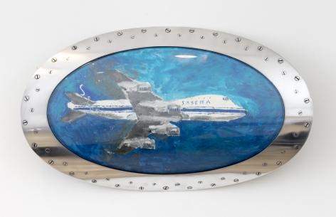 Night of Belgium, 2017, Nail polish on paper in Boeing 747 Landing Light Lens