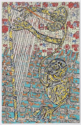 Listless Harpist, 2018, Gouache on paper on dibond