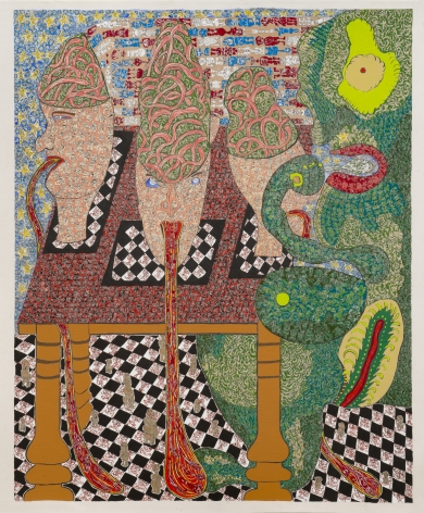 Check Mate: Monkey Stew,2012, Gouache on arches watercolor paper