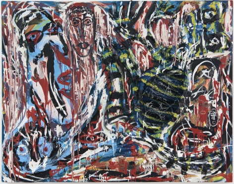 Shedding the Blood,1991, Enamel, oil, wood, rope carpet, hickory nuts, and industrial sealing compound on canvas mounted on wood