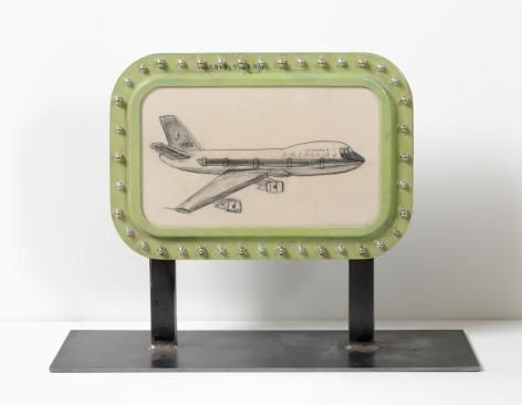 Boeing 747 Air Canada C-FTOE, 2017, Nail polish, graphite on paper