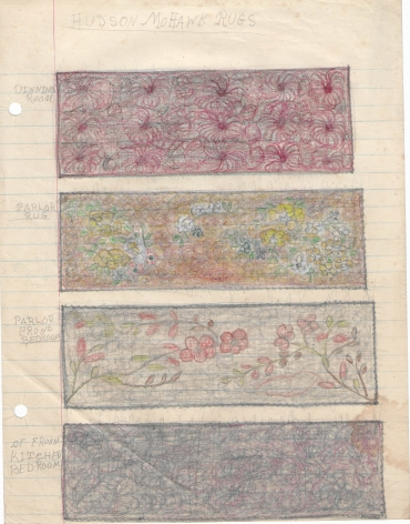 Untitled (Hudson Mohawk Rugs), c. 1940's, Graphite and colored pencil on notebook paper