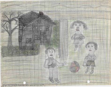 Untitled (In Binghamton New York), c. 1940's, Graphite and colored pencil on notebook paper
