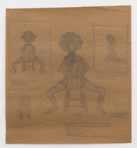 Untitled (young blond nude with blue ribbons seated in a red chair, from the red square nude series), 1989, Graphite and colored pencil on paper