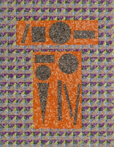 To The Cross, 1993, Postage stamp fragments on board