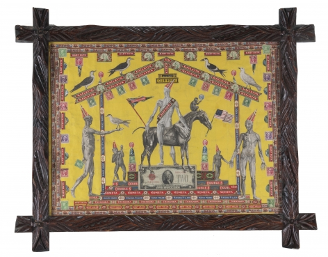 Sir Gogiva,  c. 1920-50, Mixed media collage on paper with carved wood frame