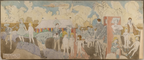 At Norma Catherine, though defended by humane Glandelinian generals they remain prisoners for some time (recto); Are then seen and persued (verso), n.d., Watercolor and pencil on paper