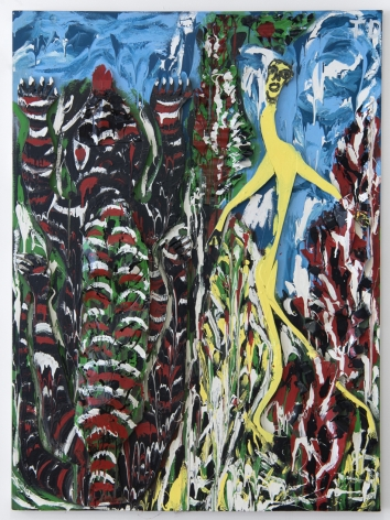 Climbin the Tree of Life: The Long Yellow Man and the Alligator,1992, Wood, metal, tin, enamel, on canvas mounted on wood
