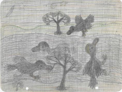 Untitled (Canada Side Ducks), c. 1940's, Graphite and colored pencil on notebook paper