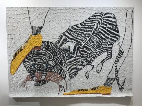 Sinking Teeth,2018, Acrylic on aluminum mesh