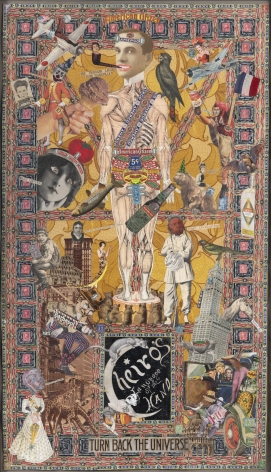 Looking Backward, c. 1920-50, Mixed media collage, double-sided