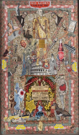 Old Glory I Salute You, c. 1920-50, Mixed media collage, double-sided