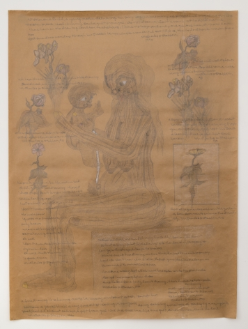 Untitled [Mother and Child], 1990, Graphite and colored pencil on taped brown wrapping paper