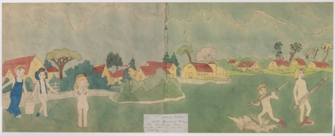 Henry Darger, At Jennie Richee Still Pursued Along the Aronburgs Run in the Storm by the Enemy (recto), n.d.