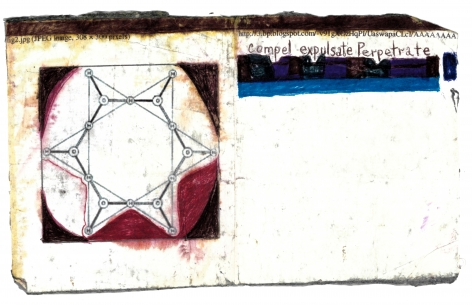 Expulsate, c.2016, Ballpoint pen, marker on paper, duct tape