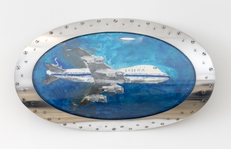 Night of Belgium,2017, Nail polish on paper Boeing 747 Landing Light Lens